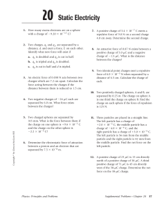 chapter 20 static electricity  worksheet