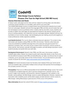 CodeHS Course Syllabus