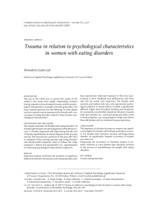 Trauma in relation to psychological characteristics in women with eating disorders