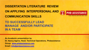 Dissertation Literature Review on Applying interpersonal and communication skills to successfully lead manage  - Phdassistance.com