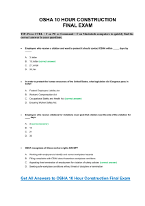 OSHA 10 Construction Final Test Answer Key Training