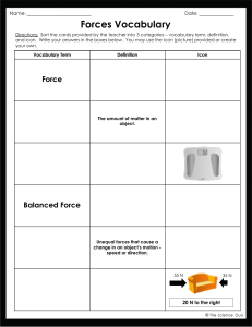Student Vocabulary for Forces