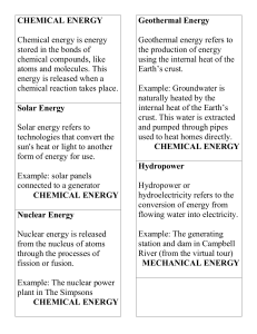 Types of Energy - Fact-Finding Mission Cards