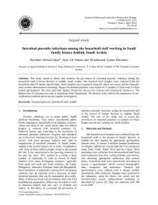 Intestinal parasitic infections among the household staff working in Saudi family houses Jeddah, Saudi Arabia