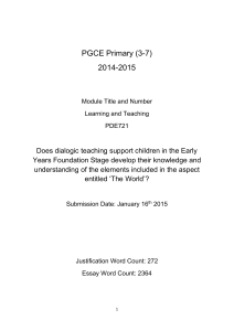 1Learning and teaching PGCE essay dialogic teaching in EYFS