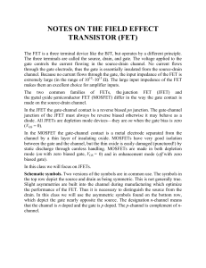 Notes on The Field Effect Transistor FET (2)