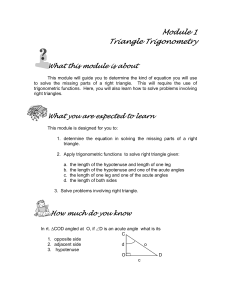 Module 1- Triangle Trigonometry