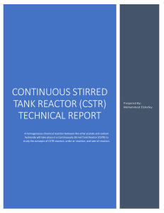 Continuous Stirred Tank Reactor (CSTR) Technical Report
