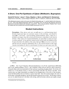 A Short, One-Pot Synthesis of Zyban (Wellbutrin, Bupropion)