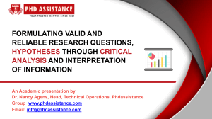 Formulating Valid And Reliable Research Questions, Hypotheses Through Critical Analysis - Phdassistance.com