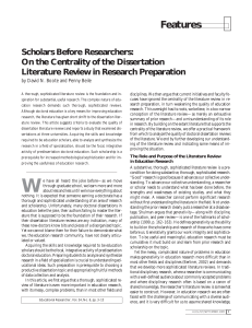 Boote and Beile-Scholars before researchers-on the centrality of the dissertation literature review in research preparation
