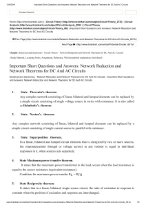 2. Important Short Questions and Answers  Network Reduction and Network Theorems for DC And AC Circuits