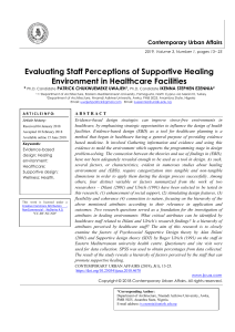 Evaluating Staff Perceptions of Supportive Healing Environment in Healthcare Facilities