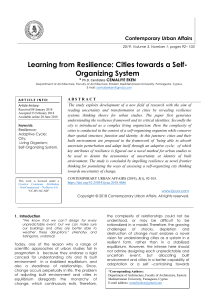 Learning from Resilience: Cities towards a Self Organizing System
