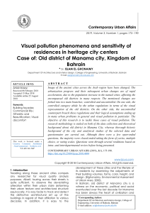 Visual pollution phenomena and sensitivity of residences in heritage city centers Case of: Old district of Manama city, Kingdom of Bahrain