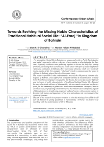 "Towards Reviving the Missing Noble Characteristics of Traditional Habitual Social Life: ""Al-Farej ""In Kingdom of Bahrain"