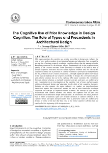 The Cognitive Use of Prior Knowledge in Design Cognition: The Role of Types and Precedents in Architectural Design