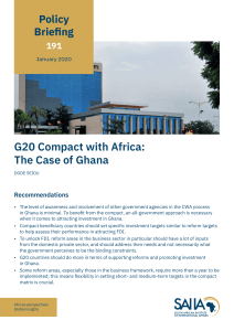 G20 compact with Africa: The case of Ghana