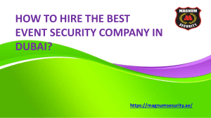 How to Hire the Best Event Security Company in Dubai
