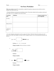 Net Forces Worksheet tugofwar