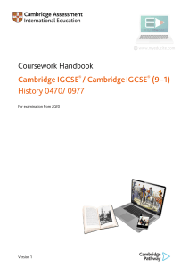 0470 Coursework Handbook (for examination from 2020)