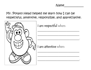 Mr. Potato Head Lesson Activity