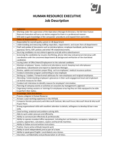 Human Resource Executive Job Description