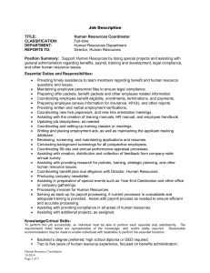 Human Resource Coordinator Job Description