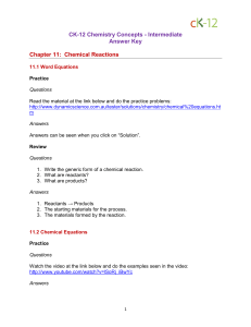 Ck-12 - 11 Chemical Reactions - Answer Key PDF