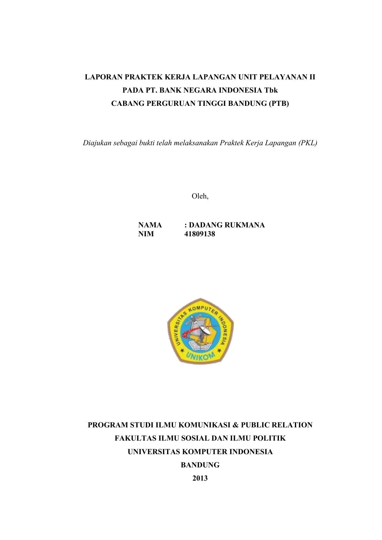 Laporan Magang Bank Bni Pdf