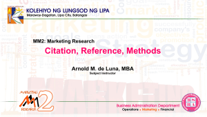 Marketing Research - Citation, Reference and Methods