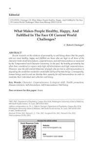2013-What makes people healthy, happy, and fulfilled in the face of current world challenges