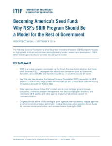 Becoming Americas Seed Fund Why NSFs SBIR Program Should Be a Model for the Rest of Government