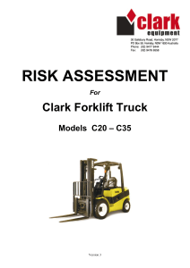 Risk Assessment for Forklifts Forklift truck