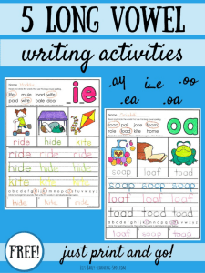 5 Long Vowel Writing Sheets