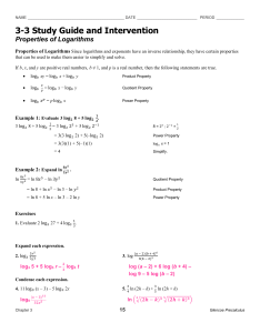 3-3 Study Guide and Intervention Properties of Logarithms Glencoe Precalculus
