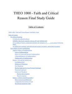 THEO 1000 - Faith and Critical Reason Final Study Guide