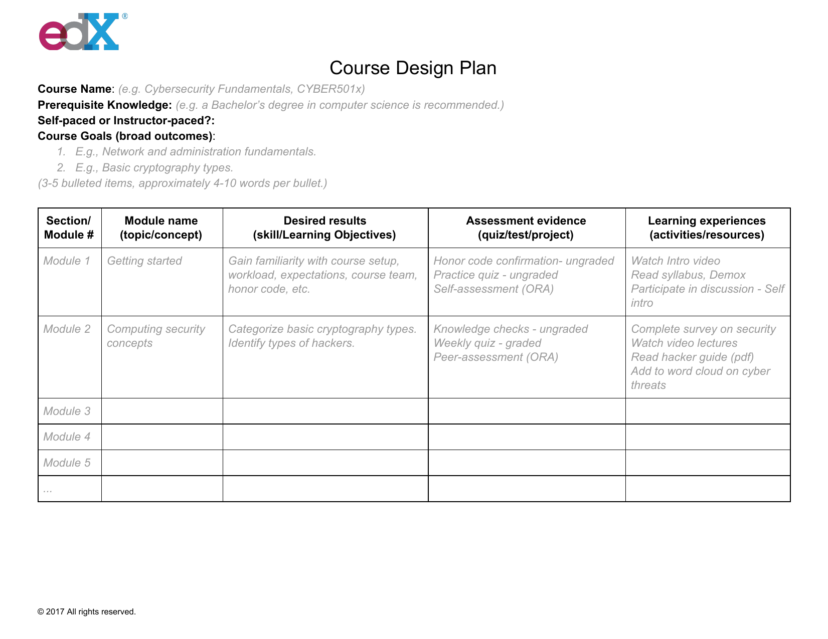 Course Design Plan Template Studiox