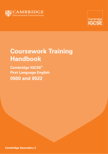 0500 0522 First Language English Coursework Training Handbook 2