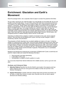 Enrichment GlaciationEarthsMovements