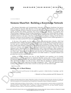 Siemens ShareNet- Building a Knowledge Network