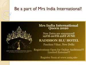 Be a part of Mrs India International!