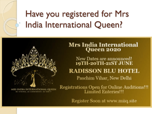 Have you registered for Mrs India International Queen
