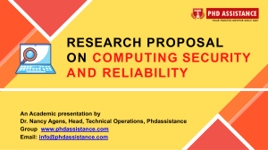 Research proposal on Computing Security and Reliability - Phdassistance.com