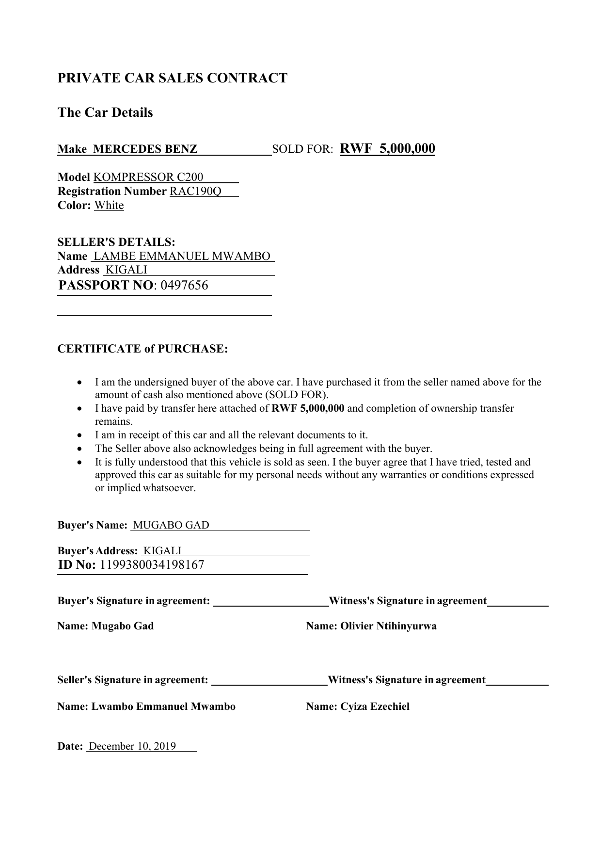 vehicle purchase agreement 30