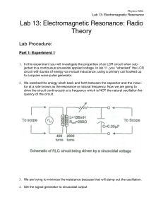 226L Lab 13 Electromagnetic Resonance- Radio Theory