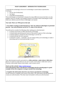YEAR 9 ASSIGNMENT – REPRODUCTIVE TECHNOLOGIES