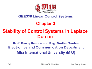 GEE338 LCS Chapter 3 Stability of Control Systems