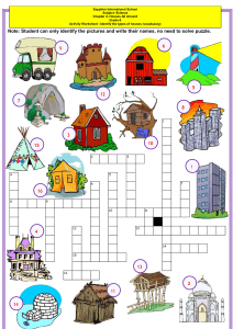 types of houses vocabulary esl crossword puzzle worksheet for kids-converted (2)