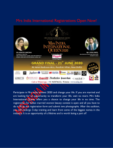 Mrs India International Registrations Open Now!
